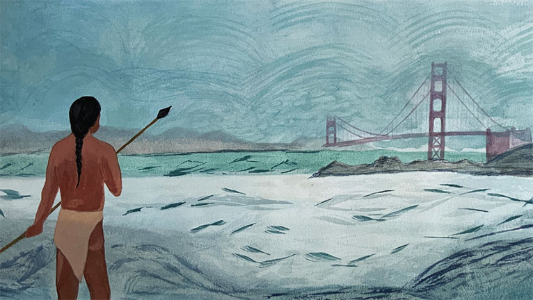 Indigenous person on shore of San Francisco Bay with fog shrouded Golden Gate Bridge in distance
