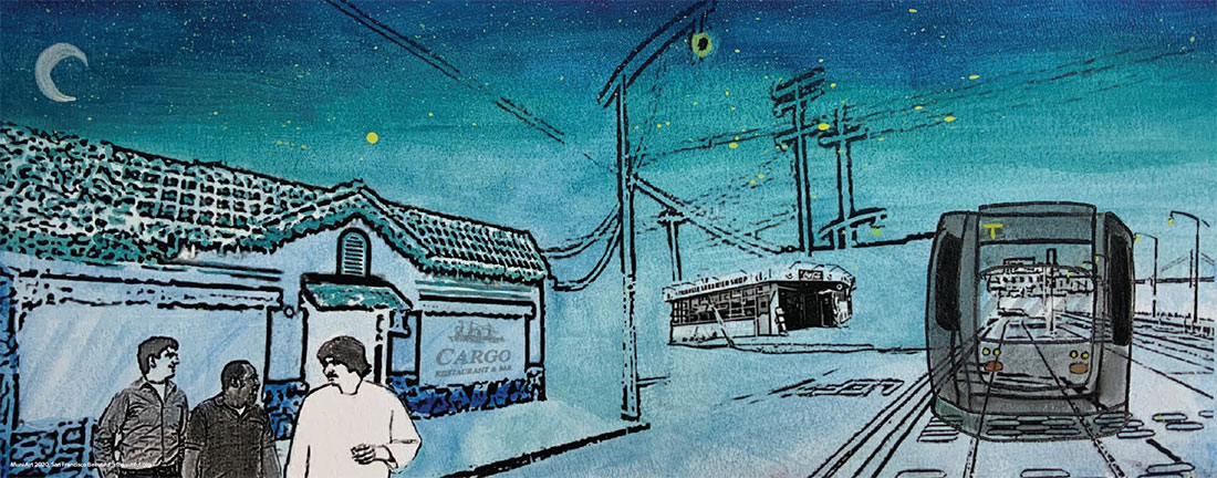 Watercolor of T Third Muni Metro Light Rail Vehicle approaching under a cresent moon