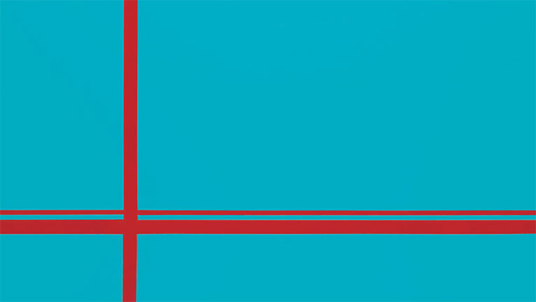 Light blue background with red lines across alluding to the Golden Gate Bridge