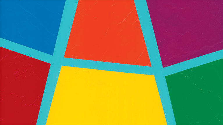 Six polygons in bright colors bordered by a pale blue irregular grid