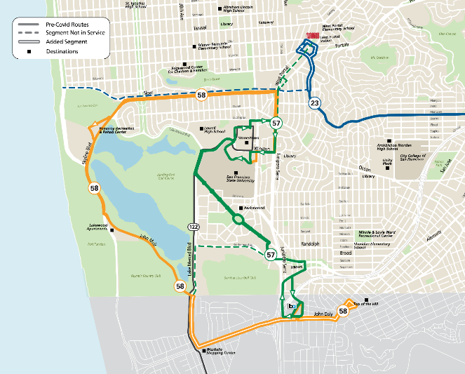 Map showing 57 Parkmerced service between Eucalyptus Drive & Junipero Serra Boulevard and Daly City BART Station, providing direct connections from Stonestown and Parkmerced to BART and KT Ingleside-Third Street and the new 58 Lake Merced route along John Muir Drive