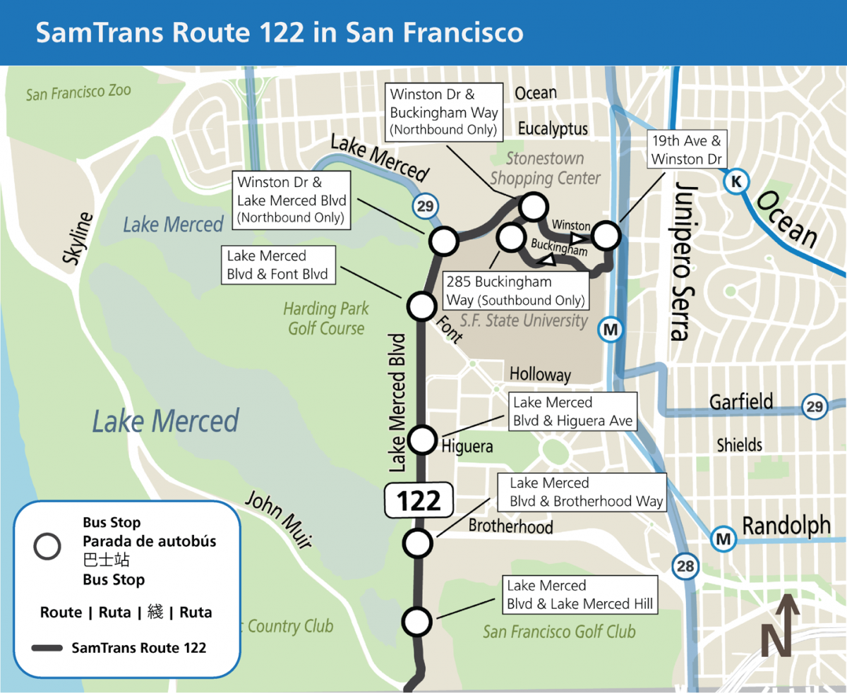 Map entitled SamTrans Route 122 in San Francisco. Eight bus stops are identified: Lake Merced & Lake Merced Hill, Lake Merced Boulevard and Brotherhood Way, Lake Merced Boulevard and Higuera Avenue, Lake Merced Boulevard and Font Boulevard, Winston Drive and Lake Merced Boulevard (northbound only), Winston Drive and Buckingham Way (Northbound only), 19th Avenue and Winston Drive, 285 Buckingham Way (southbound only)