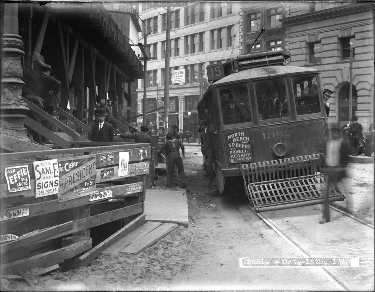 A 15 3rd & Kearny streetcar picks its way through a crowded downtown scene in this 1910 photo.