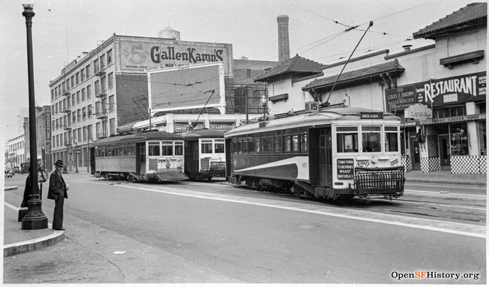 A photo from OpenSFHistory.org showing the 15, 16, and 29 Streetcars outside the Southern Pacific Railroad Depot in 1940, shortly before streetcar service would be replaced with buses.