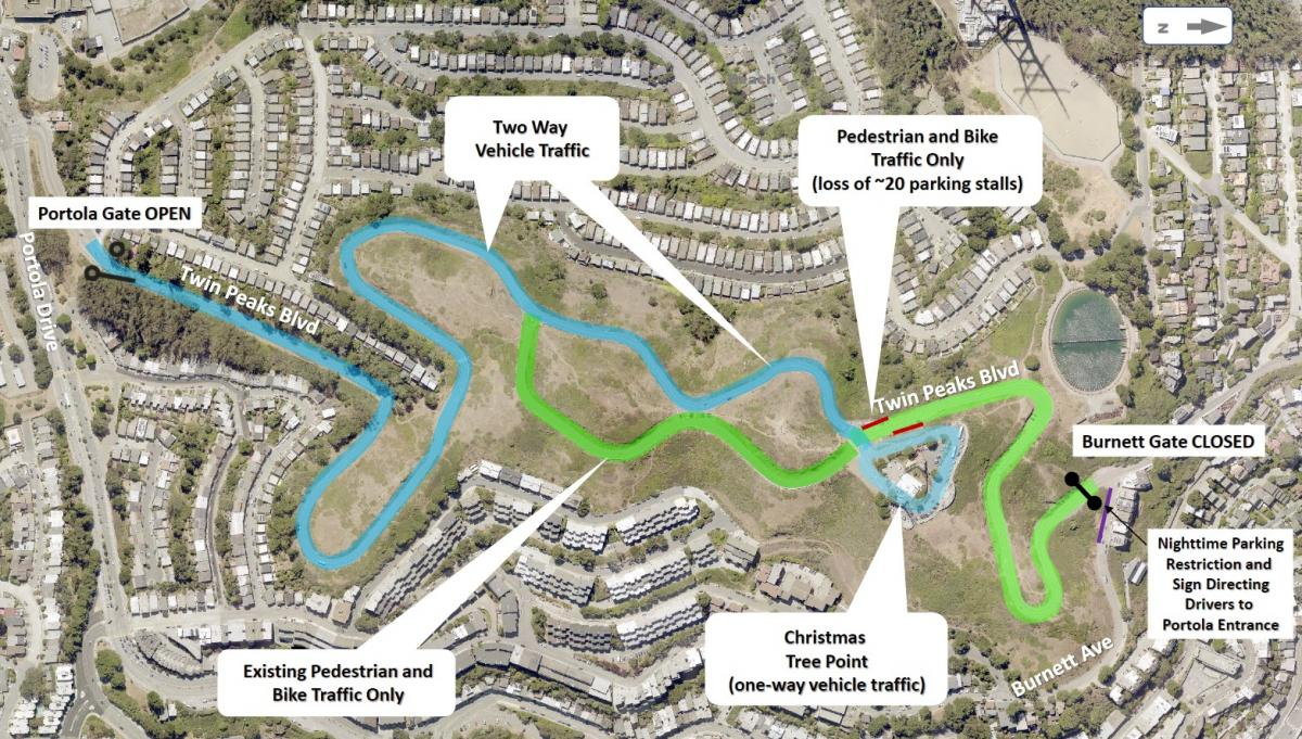 Map of Twin Peaks Boulevard with closures, blue line showing opening of Twin Peaks Blvd