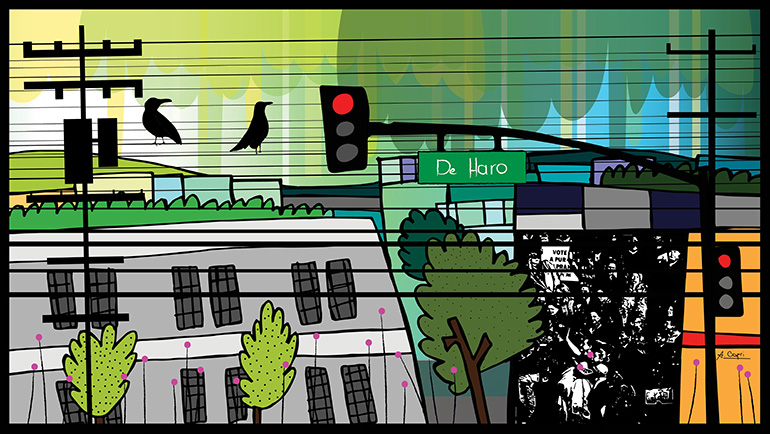 Traffic lights, with red lit, crossing De Haro Street. There is a two-story building on each corner. There are telephone poles with lines going along De Haro, as well as trees and also lines with a pink dot on each end. Two birds sit on the lines. Past the far side of the intersection is a black and white mural with various people and a partially readable sign concerning voting on some issue. In the background is an abstract skyline. It is day.