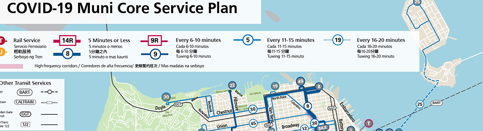 Near-north slice of the Muni COVID-19 service map as of 3/9/21