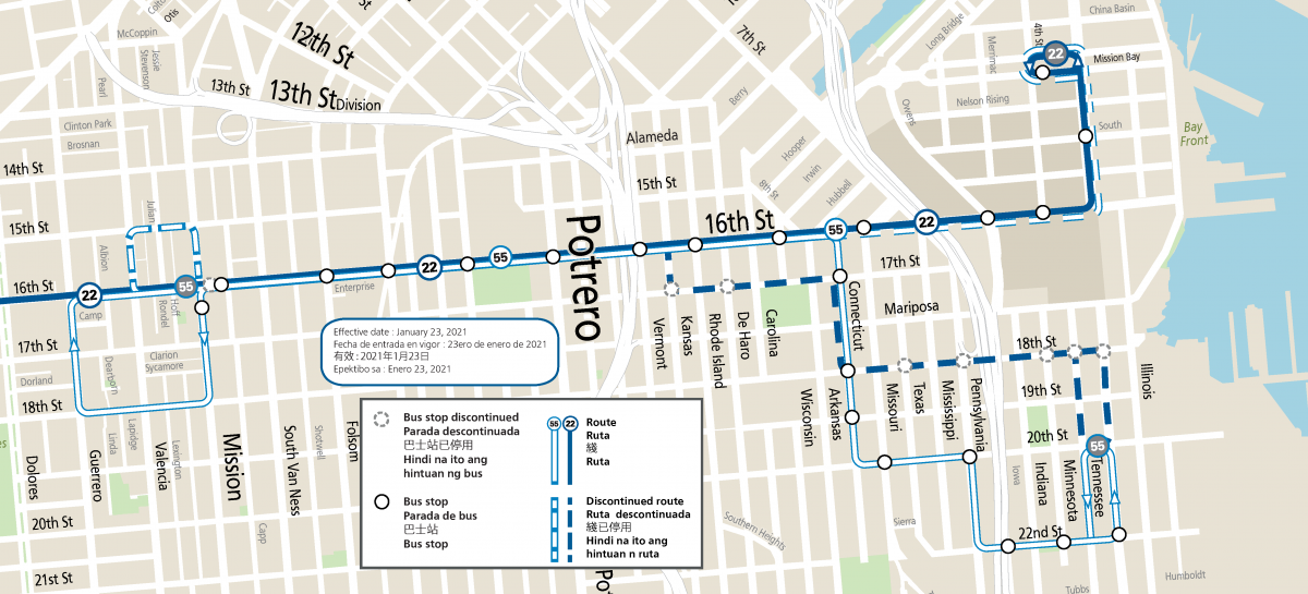 map of 22 Fillmore and 55 Dogpatch routes to begin 1/23/21