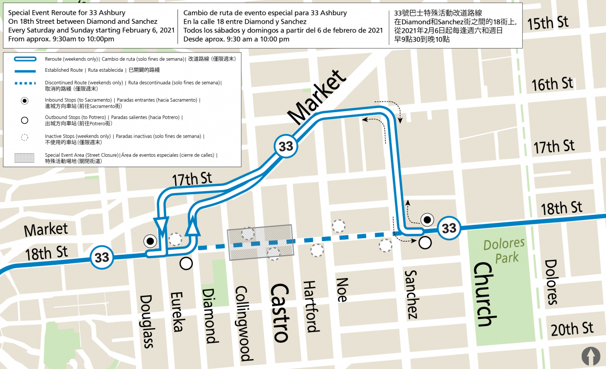 Map of 33 reroute in the Castro on weekends from 9:30 am to 10 pm.