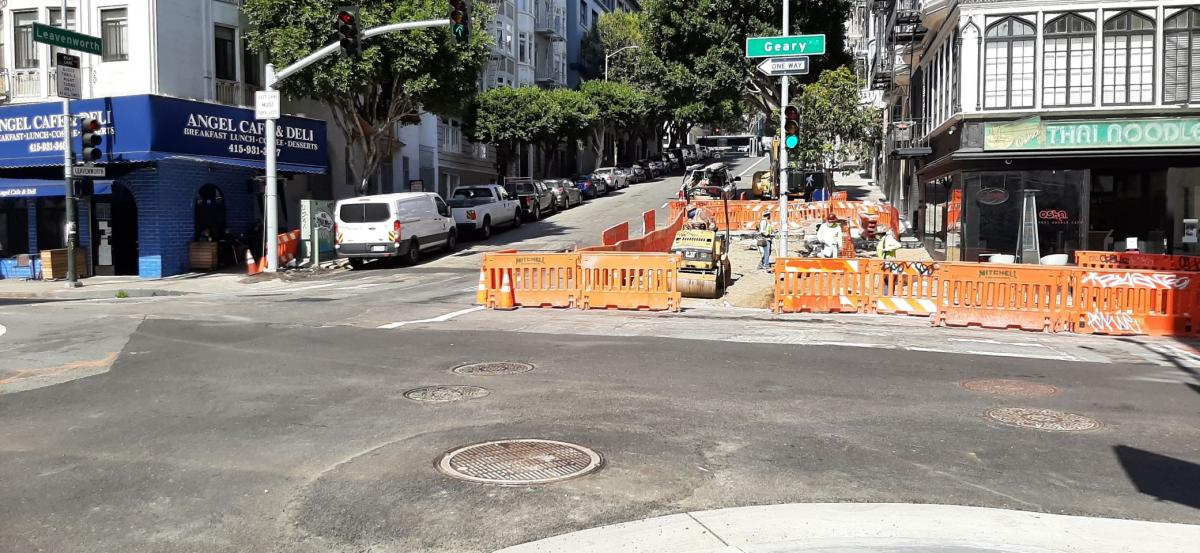 Photo: Crews working to install new ADA curb ramp at Leavenworth and Geary.