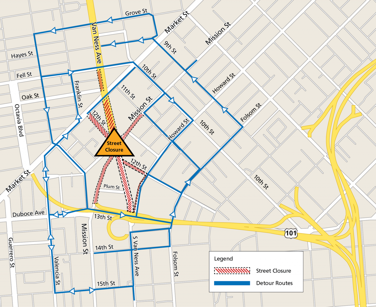 Map of Van Ness Avenue and Mission Street intersection showing detours and street closures. Streets closed to traffic include South Van Ness Avenue south of Market, Mission Street one block west of 11th Street, 12th Street north of Howard, South Van Ness north of Highway 101, Highway 101/Mission Street highway exit, and 12th Street south of Market will all be closed to traffic. Detour streets include Howard Street, Folsom Street, 10th Street, 9th Street, 13th Street, Duboce Avenue, Gough Street, Franklin Street, Fell Street, Hayes Street and Grove Street can all help you avoid the closed intersection.