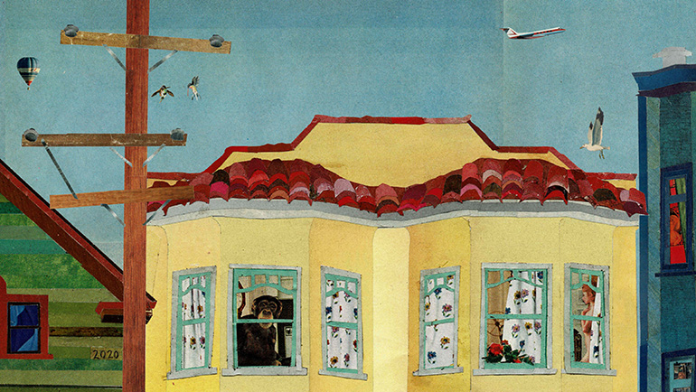 The upper level of a yellow stucco residence with red roof tiles having buildings on either side. There are patterned curtains in some windows, a person looking out one window and another person visible in the room through another window. There is a phone pole. In the sky there are a couple birds, a hot-air balloon, a sea gull, and an airplane.