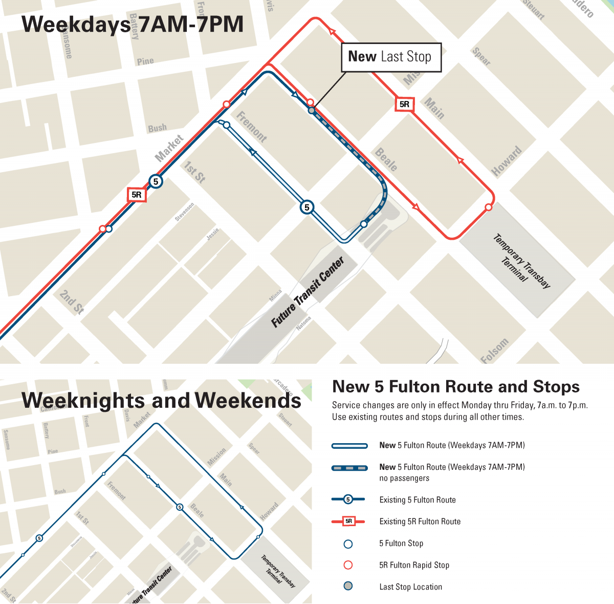 Map of new 5 Fulton Stops for Weekday Service to 6th Ave