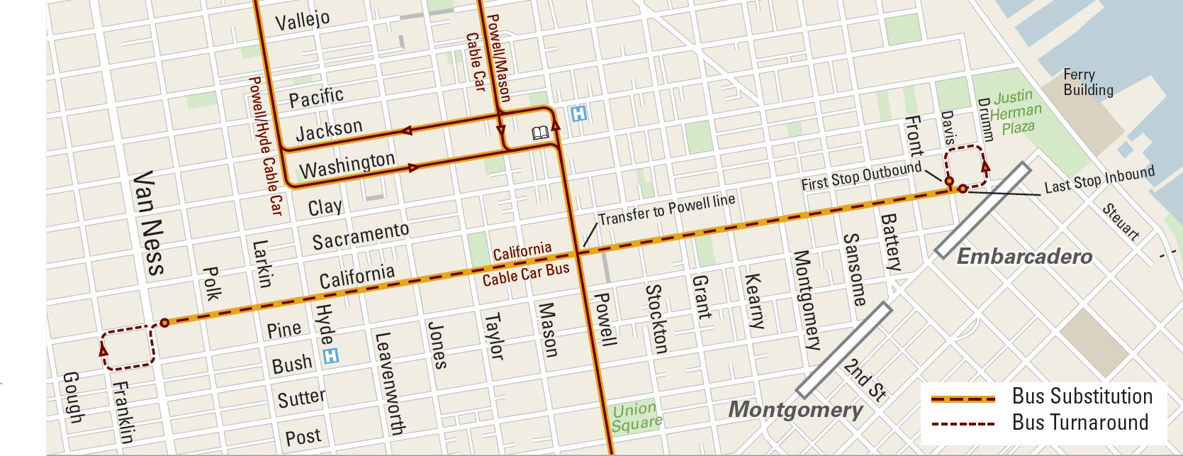 Map of Califorina Shuttle bus service