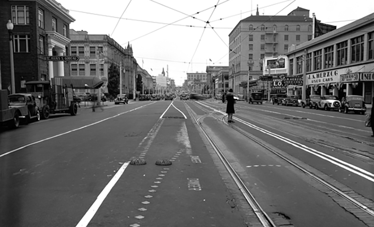 Historic photo of Van Ness Avenue and Oak Street