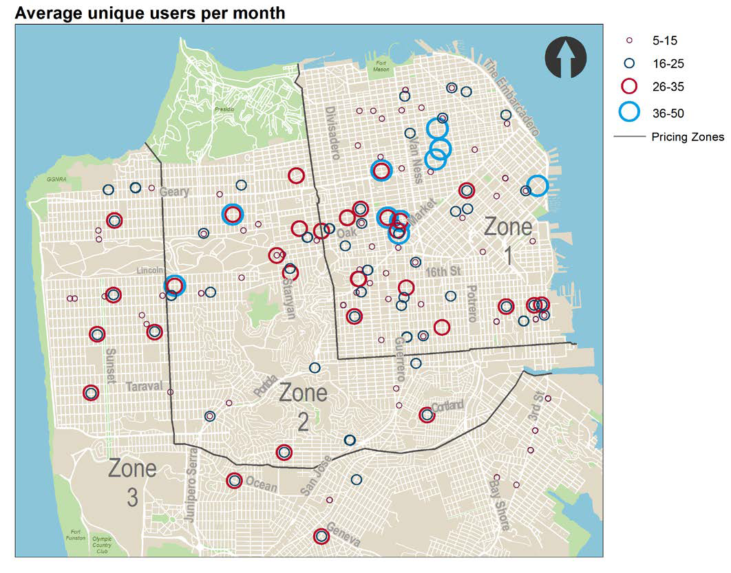 Map of San Francisco showing average number of unique users per car-share vehicle.