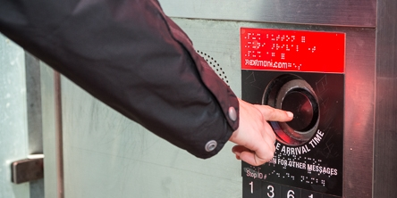 Next Muni in Shelter Accessible Information Button