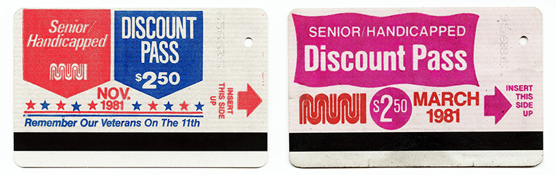 Two brightly colored vintage Muni discount fast passes from 1981.