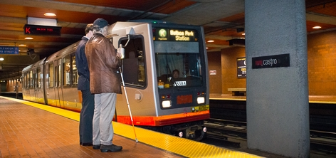 Blind Passenger waits to board an LRV at the Underground Muni Metro Castro Station
