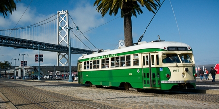 Image result for vintage trolley cars sf embarcadero