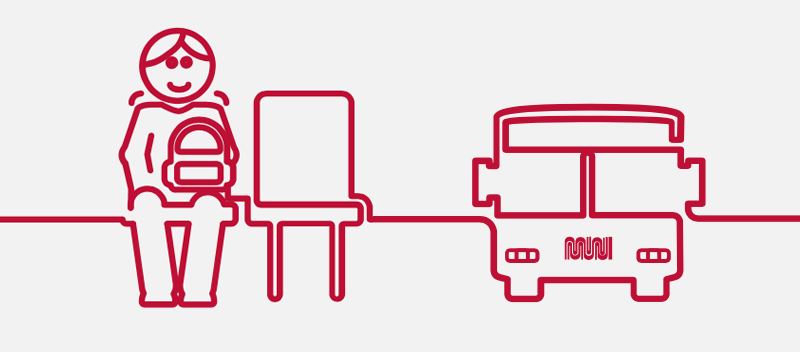 Red on white graphic of a bus rider and the front of a bus side-by-side