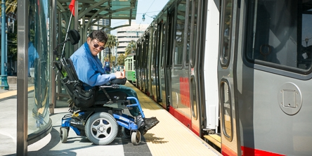 Muni passenger, Bruce Oka, using the accessible areas on Muni | September 25, 2012