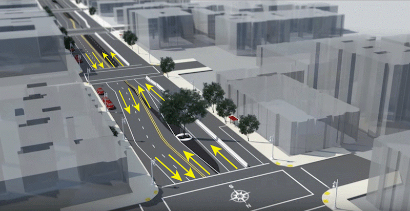 Rendering of Van Ness with yellow arrows showing traffic plan.