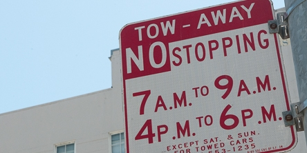 Rush Hour Tow Away Zone Sign | May 22, 2013