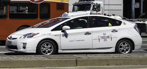 Car with SF Taxicab Company color scheme