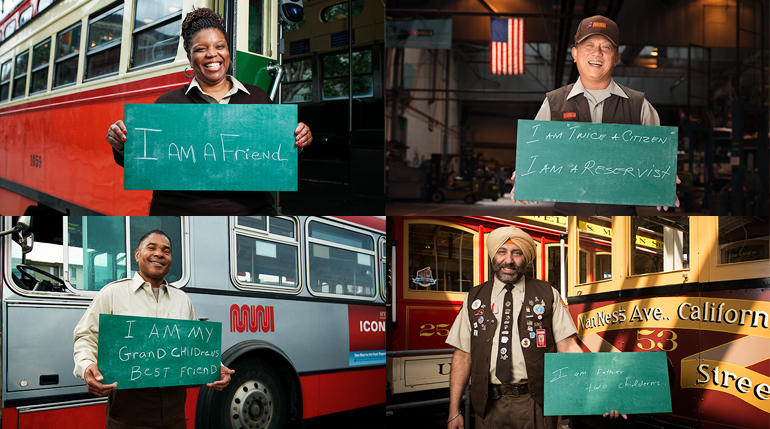 Images of Muni operators from the I am Muni camapign