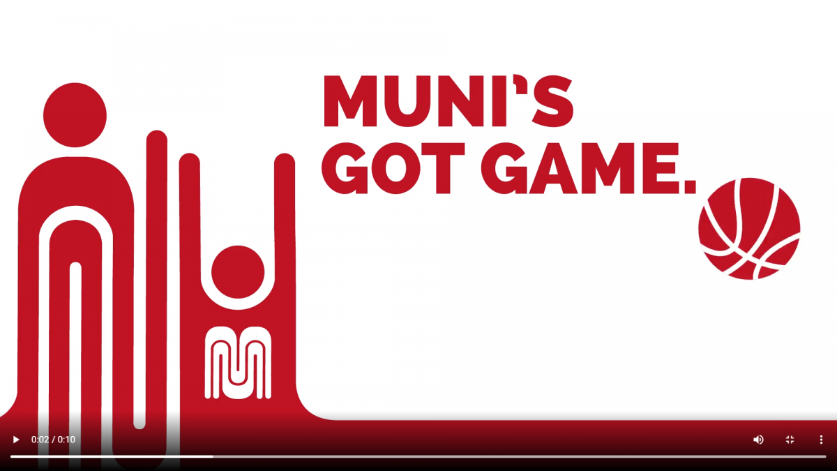 Graphic inspired by the Muni worm logo evokes a Muni team member playing basketball; Muni's got game. Ride free to all Warriors games. Your ticket's your fare. It's a slam dunk.