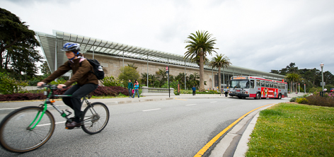 A Cyclist and a Muni Bus pass in front of the California Academy of Sciences | May 6, 2013