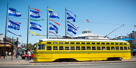 Cincinnati Streetcar 1057 stops at Pier 39 | May 18, 2013