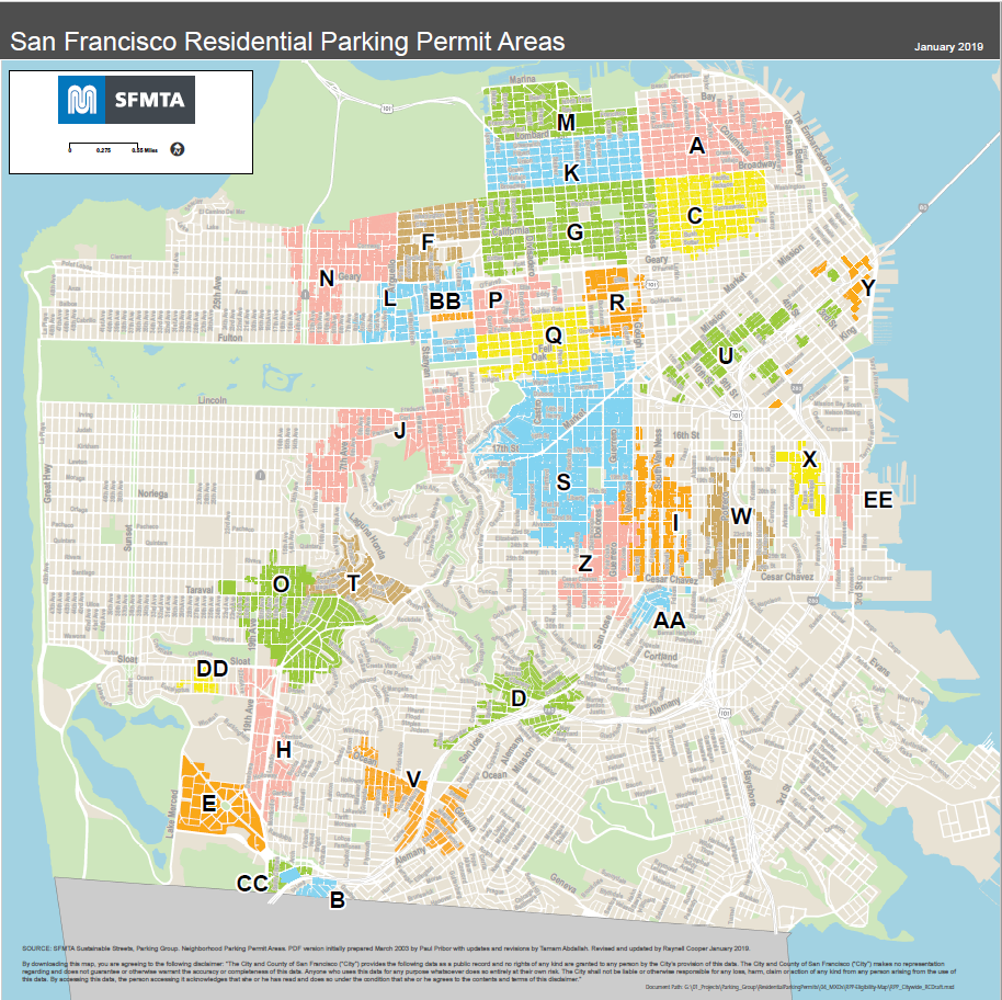San Francisco Parking Map Residential Parking Permit Areas   PNG and PDF | SFMTA San Francisco Parking Map