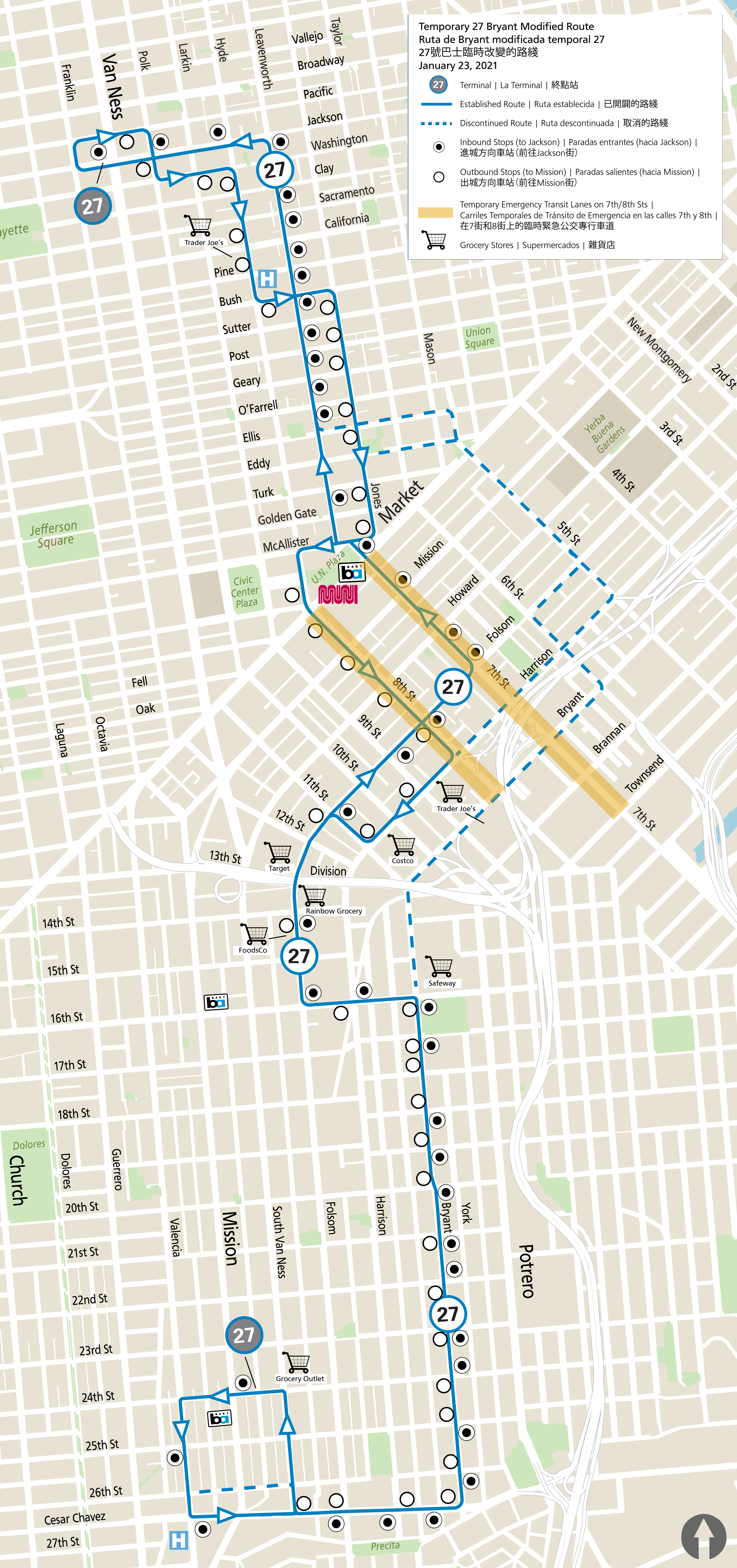 Map showing new route, old route and transit lanes for the 27 Bryant in SoMa.