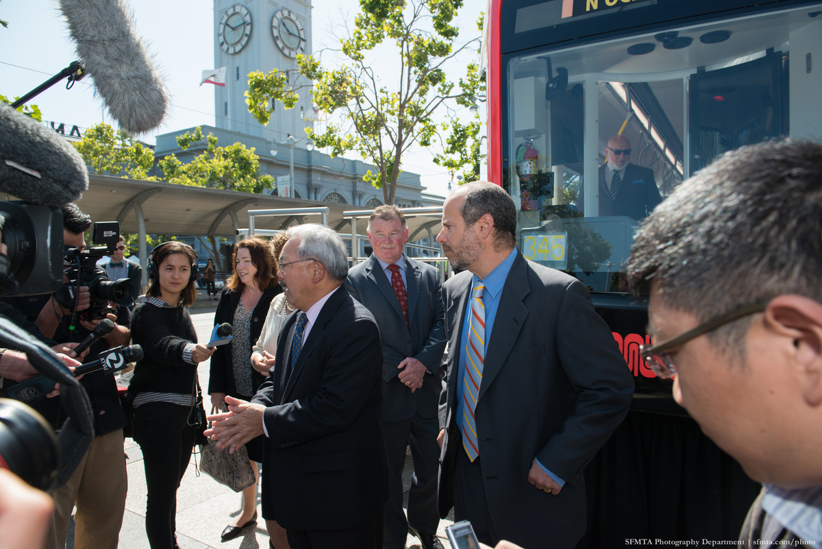 Mayor Lee, joined by Haley and SFMTA Director of Transportation, Ed Reiskin, speaks to reporters at this morning's event.
