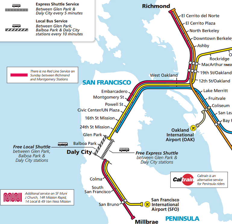 Daly City Bart Map Weekend BART Closures in SF: How to Get Around | SFMTA