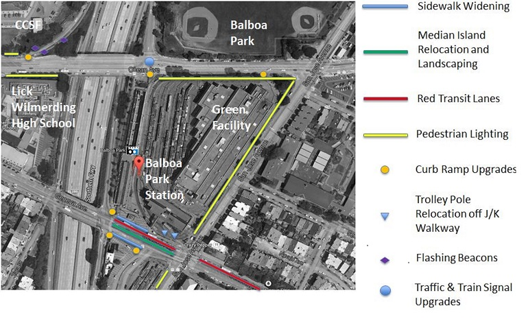 Aerial photograph of the Balboa Park Station and surrounding streets, including the 280 fwy, with an overlay of colorful markings showing the planned project improvements.