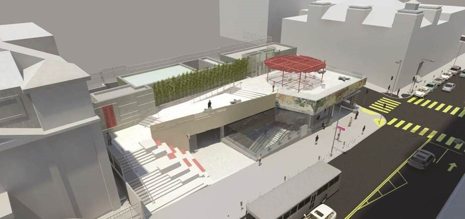 A rendering of the Chinatown Station Plaza above the Central Subway Chinatown Station.