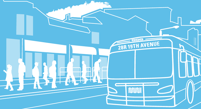 "A blue and white graphic depicting a San Francisco street scene with a Muni bus labelled ""28R 19th Avenue"" on the head sign."