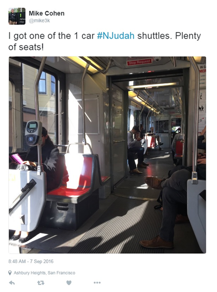 """I got one of the 1 car #NJudah shuttles. Plenty of seats!"" with photo of a sparsely populated light rail vehicle."