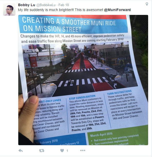 """My life suddenly is much brighter!! This is awesome! @MuniForward"" with a photo of the Muni Forward Mission Street project flier."