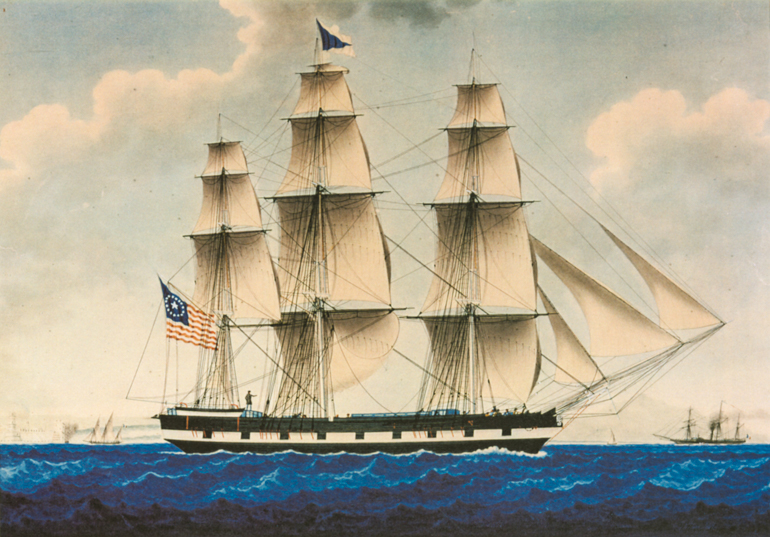 Reproduction of an 1848 watercolor painting depicting a three masted ship sailing full sail in deep blue ocean waters.