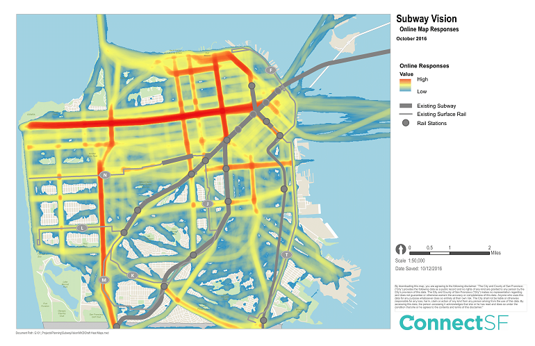 "A brightly colored map providing a color code of online responses for the ""Subway Vision."""