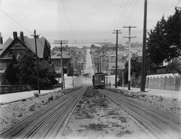 View North From Fillmore and Broadway showing san francisco bay and fillmore streetcar climbing pacific heights