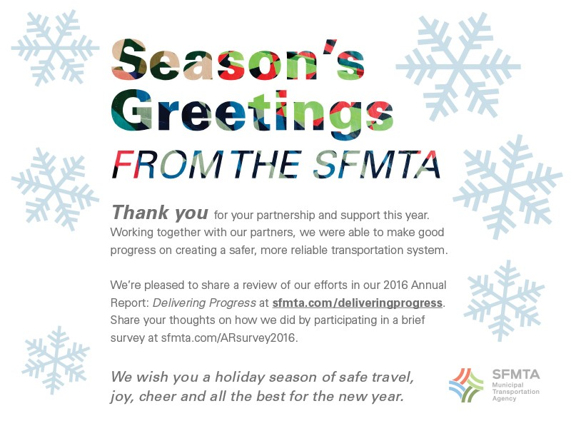 "SFMTA ""Season's Greetings"" graphic and message"