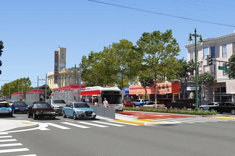Rendering of Geary at 17th with red bus transit-only lanes in the center lines with shelters. Cars pass in front.