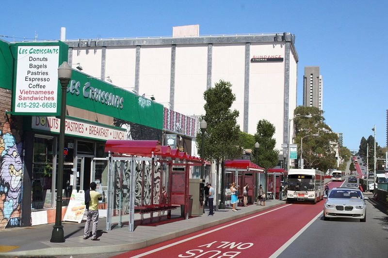 Rendering of Geary Boulevard at Fillmore facing east with a bus pulling up in the red transit-only lane.