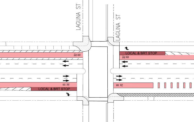 Diagram of the intersection of Geary and Laguna showing the new boarding areas on Geary.