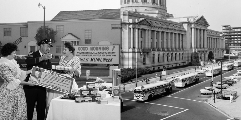 Two images placed side by side, the image on the left shows three people standing next to a table with doughnuts and coffee talking to each other.  Left photo shows a long row of buses parading past San Francisco city hall.